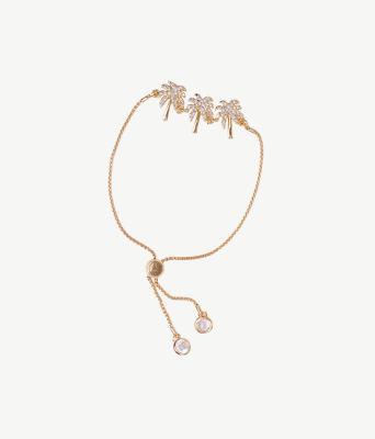 Sparkling Palm Trees Pull-Tie Bracelet, Gold Metallic, large