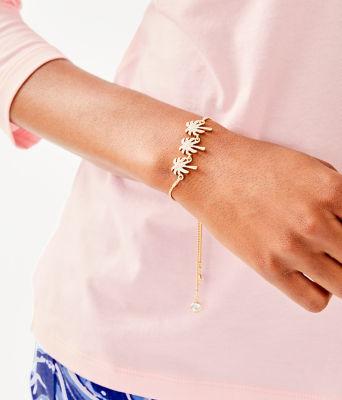 Sparkling Palm Trees Pull-Tie Bracelet, Gold Metallic, large 2