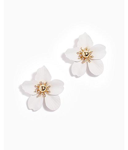 Oversized Orchid Earrings, Flutter White, large 0