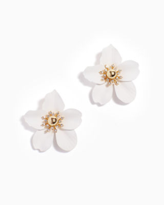Oversized Orchid Earrings, Flutter White, large