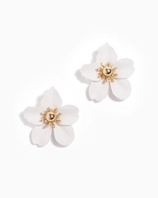 Oversized Orchid Earrings, Flutter White, large