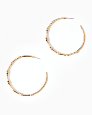 Twilight Hoop Earrings, Gold Metallic, large