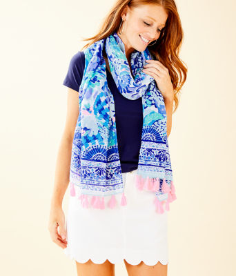 Resort Scarf, Turquoise Oasis Wave After Wave Wrap, large 0
