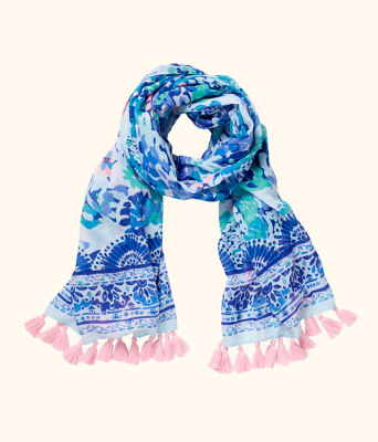 Resort Scarf, Turquoise Oasis Wave After Wave Wrap, large