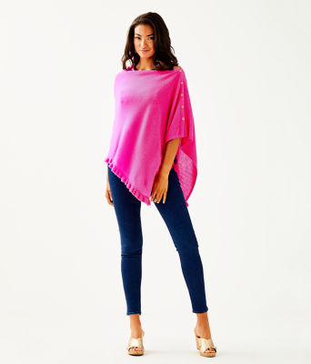 Harp Cashmere Ruffle Wrap, Bougainvillea Pink, large