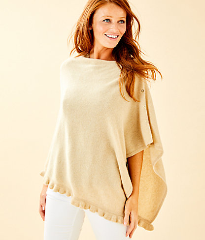 Harp Cashmere Ruffle Wrap, Heathered Sand Bar Metallic, large