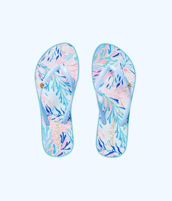 Pool Flip Flop, Crew Blue Tint Kaleidoscope Coral Shoe, large 0