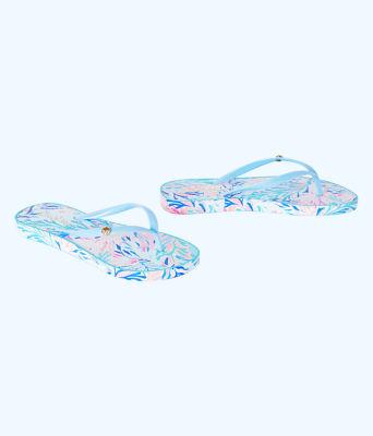 Pool Flip Flop, Crew Blue Tint Kaleidoscope Coral Shoe, large 1