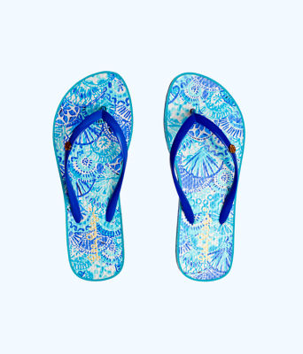 Pool Flip Flop, Turquoise Oasis Half Shell Shoe, large 0