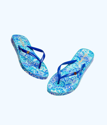 Pool Flip Flop, Turquoise Oasis Half Shell Shoe, large 1