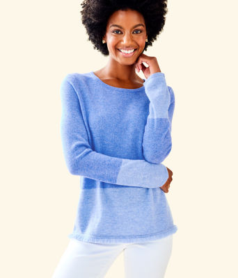 Rica Cashmere Sweater, Heathered Beckon Blue Heathered Bennet Blue Color Block, large 0