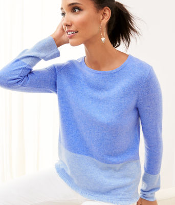 Rica Cashmere Sweater, Heathered Beckon Blue Heathered Bennet Blue Color Block, large