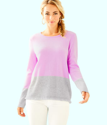 Rica Cashmere Sweater, Lilac Freesia Heathered Foggy Grey Color Block, large 0