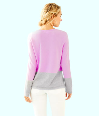 Rica Cashmere Sweater, Lilac Freesia Heathered Foggy Grey Color Block, large 1