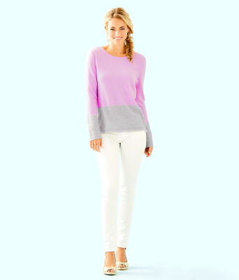 Rica Cashmere Sweater, Lilac Freesia Heathered Foggy Grey Color Block, large 2