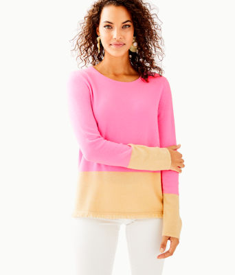Rica Cashmere Sweater, Pink Tropics Heathered Sandbar Color Block, large 0
