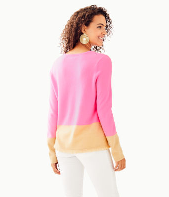 Rica Cashmere Sweater, Pink Tropics Heathered Sandbar Color Block, large 1