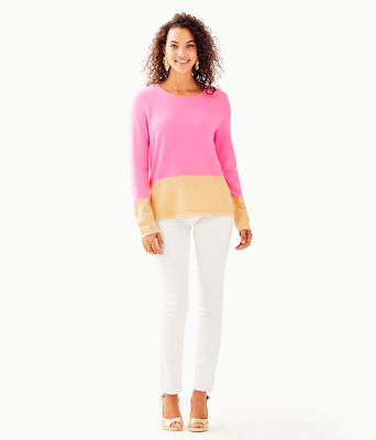Rica Cashmere Sweater, Pink Tropics Heathered Sandbar Color Block, large 2