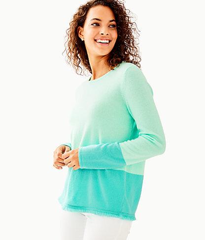 Rica Cashmere Sweater, Resort Aqua Sea Crystals Color Block, large