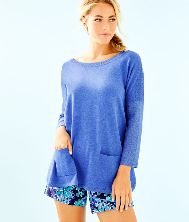 Cobo Boatneck Sweater, Heathered Coastal Blue, large