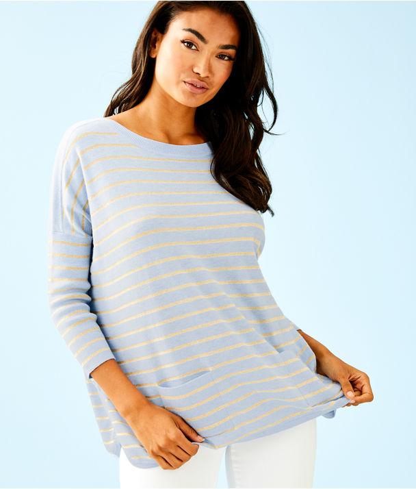 Cobo Boatneck Sweater, Heathered Crew Blue Coastal Shell Stripe, large
