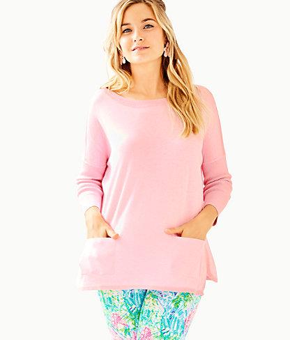 Cobo Boatneck Sweater, Heathered Pink Tropics Tint, large