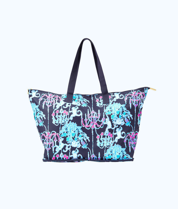 Getaway Packable Tote, Bright Navy Pop Up Monkey Trouble, large