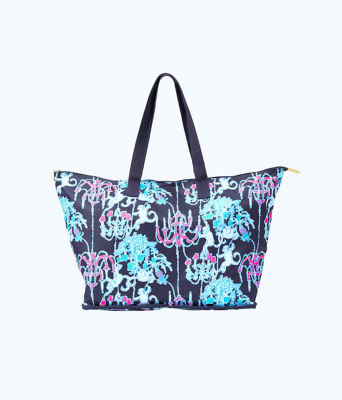 Getaway Packable Tote, Bright Navy Pop Up Monkey Trouble, large 0