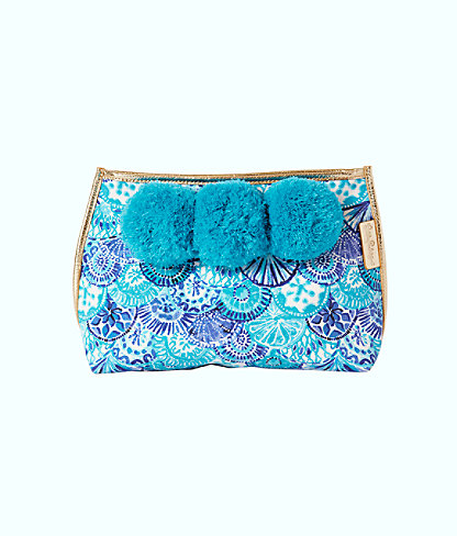 Oasis Pom Pom Pouch, Turquoise Oasis Half Shell Accessories Small, large