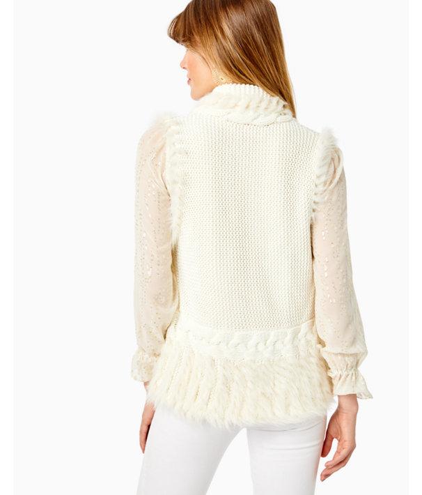 Torini Faux Fur Sweater Vest, Coconut, large