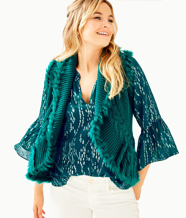 Torini Faux Fur Sweater Vest, Inky Turquoise, large