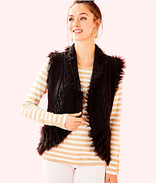 Torini Faux Fur Sweater Vest, Onyx, large