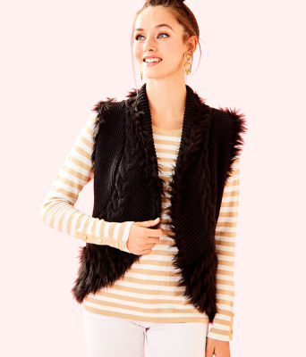 Torini Faux Fur Sweater Vest, Onyx, large
