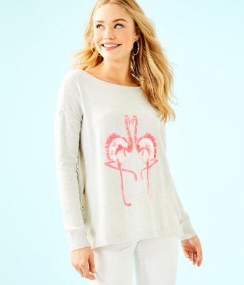 Caralynn Sweater, Heathered Seaside Grey Flamingo Intarsia, large