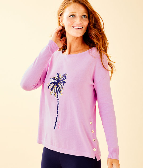 Caralynn Sweater, Lilac Freesia Palm Tree Intarsia, large