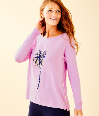 Caralynn Sweater, Lilac Freesia Palm Tree Intarsia, large