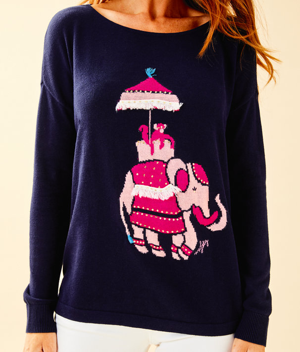 Caralynn Sweater, True Navy Elephant Intarsia, large