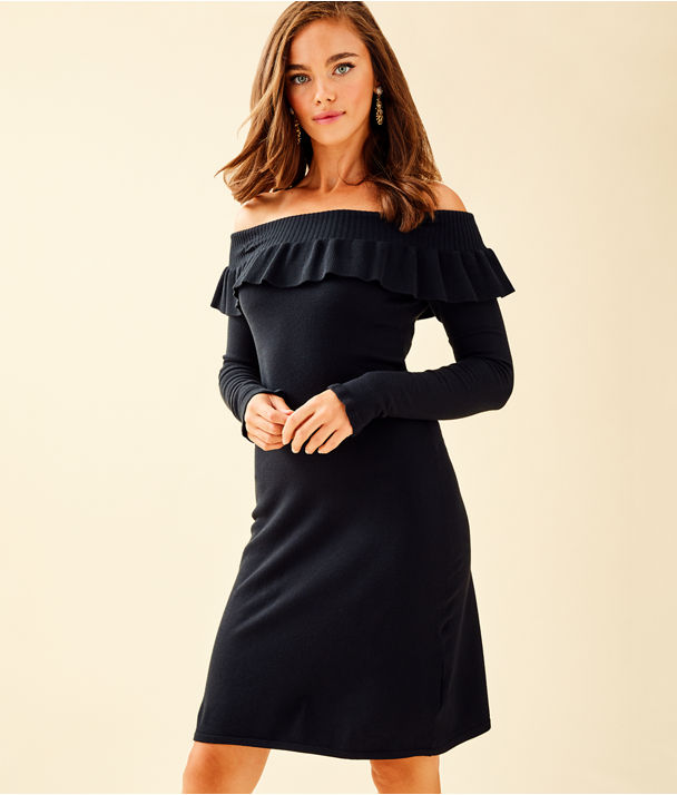 Moda Off The Shoulder Sweater Dress, Onyx, large