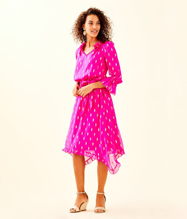 Alyanna Silk Midi Dress, Bougainvillea Pink Diamond Metallic Clip, large
