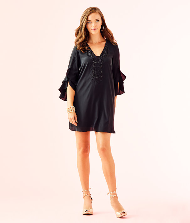Tatiana Stretch Silk Dress, Onyx, large
