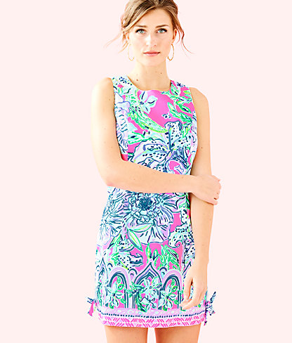 Mila Shift Dress, Pink Tropics In The Groove Engineered Dress, large 0