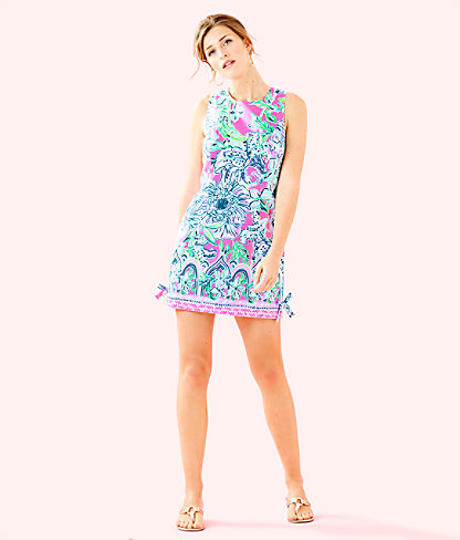 Mila Shift Dress, Pink Tropics In The Groove Engineered Dress, large 3