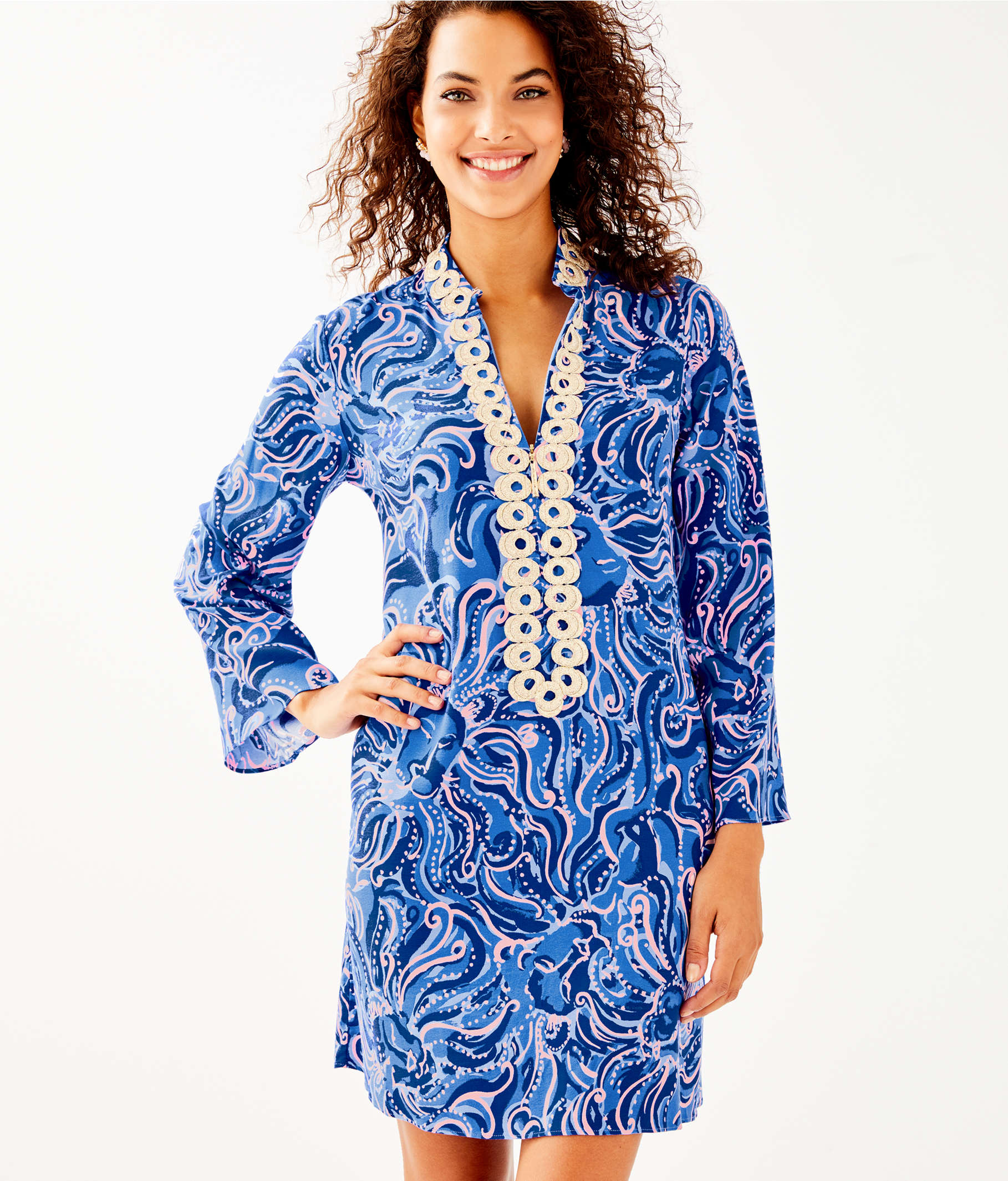 330e90239da49c ... Gracelynn Stretch Tunic Dress, Coastal Blue Whispurr, large ...