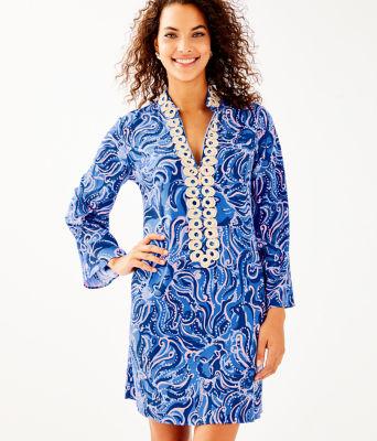 Gracelynn Stretch Tunic Dress, Coastal Blue Whispurr, large 0