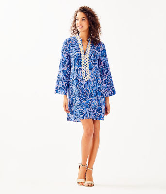 Gracelynn Stretch Tunic Dress, Coastal Blue Whispurr, large 3