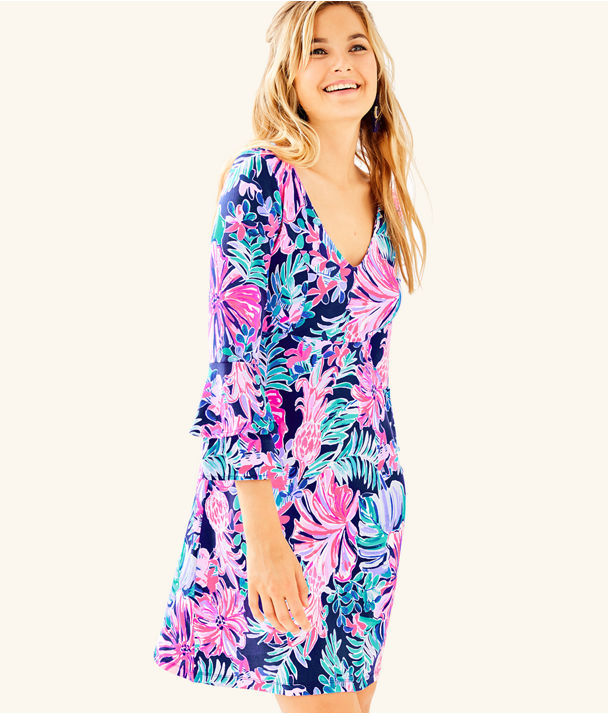 Raina Fit And Flare Dress, Multi Garden Get Away, large