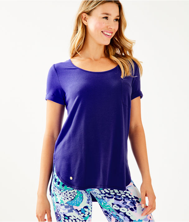 Luxletic Kerah Short Sleeve Lounge Tee, Royal Purple, large