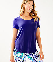 Luxletic Kerah Short Sleeve Lounge Tee, Royal Purple, large
