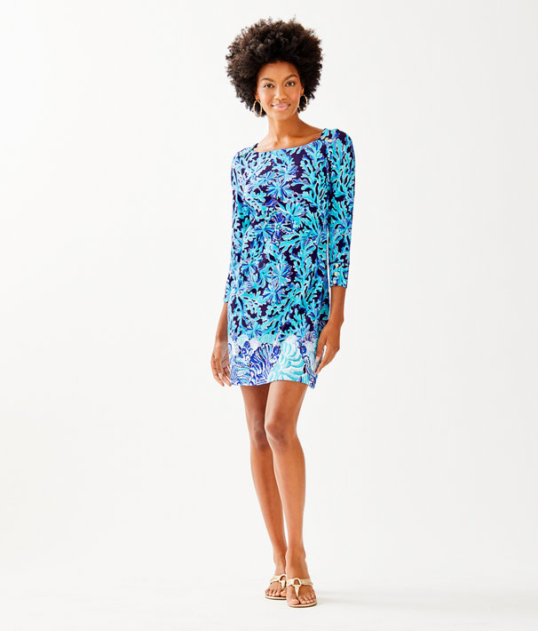UPF 50+ Sophie Dress, Bright Navy In Too Deep Engineered Dress, large