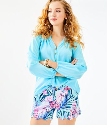 Elsa Silk Top, Bali Blue, large